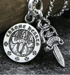chrome hearts クロムハーツ ネックレス ダガーチャーム#5&エンジェルメダルチャーム&ロールチェーンセット