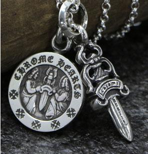 chrome hearts クロムハーツ メンズギフトにおすすめのネックレス ダガーチャーム#5&エンジェルメダルチャーム&ロールチェーン20インチセット
