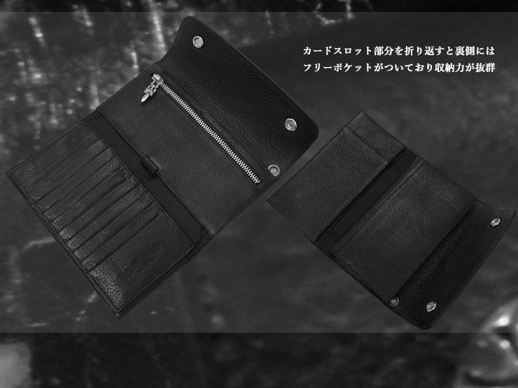 chrome hearts クロムハーツ 財布 wave ウォレット クロスボタン ブラックヘビーレザー 詳細2